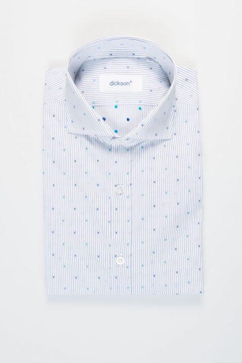 Camicia uomo slim manica lunga, collo francese, blu, 100% cotone art. AI17 / 438